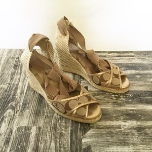 Coach MILA Gold Wedge Heels Shoes Size 7 M Tie Up